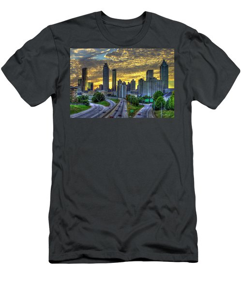 Men's T-Shirt (Athletic Fit) featuring the photograph Golden Skies Atlanta Downtown Sunset Cityscape Art by Reid Callaway