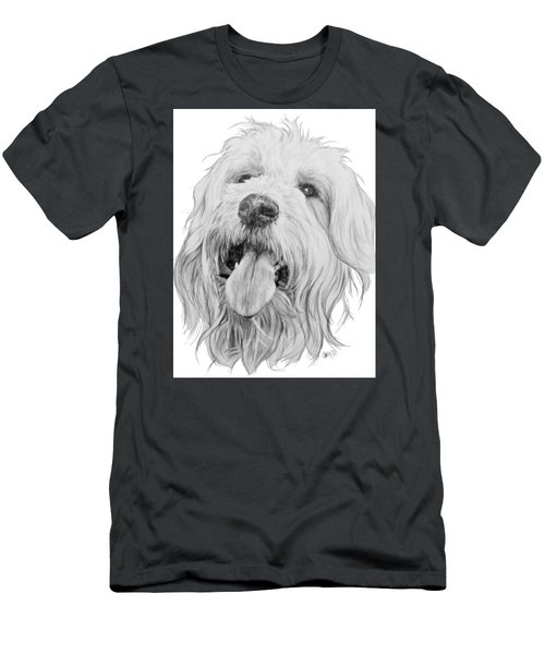 Men's T-Shirt (Athletic Fit) featuring the drawing Goldendoodle by Barbara Keith