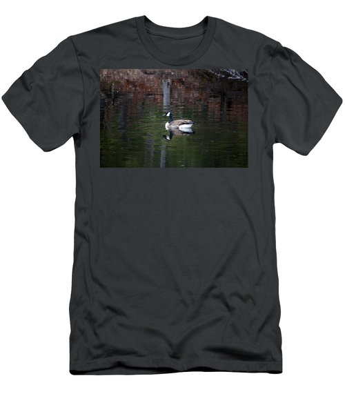 Goose On A Pond Men's T-Shirt (Slim Fit) by Jeff Severson