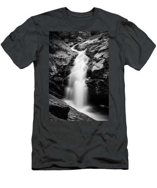 Gorge Waterfall In Black And White Men's T-Shirt (Athletic Fit)