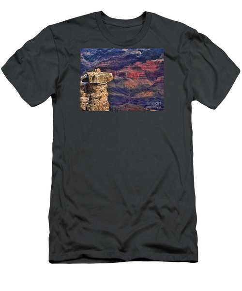 Grand Canyon Stacked Rock Men's T-Shirt (Slim Fit) by Roberta Byram