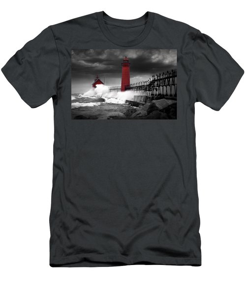 Grand Haven Lighthouse In A Rain Storm Men's T-Shirt (Athletic Fit)