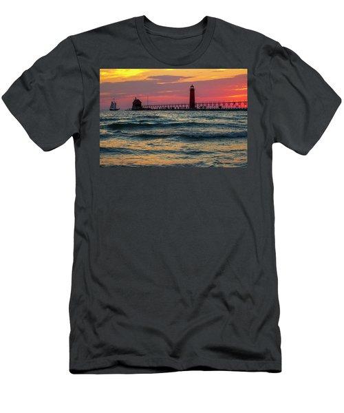 Grand Haven Pier Sail Men's T-Shirt (Slim Fit) by Pat Cook