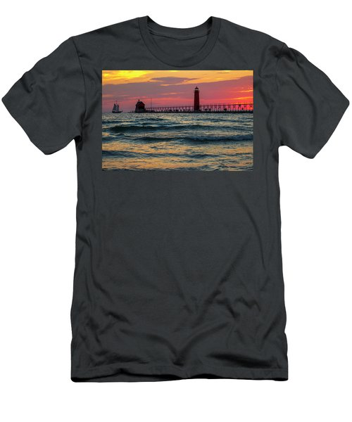 Grand Haven Pier Sail Men's T-Shirt (Athletic Fit)
