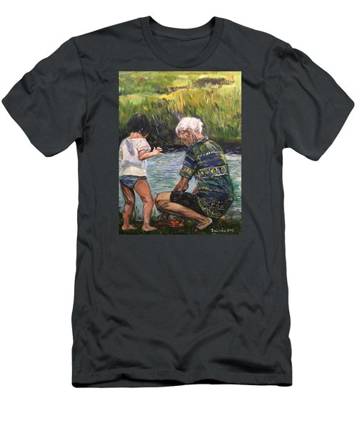 Men's T-Shirt (Slim Fit) featuring the painting Grandpa And I by Belinda Low