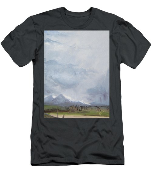 Men's T-Shirt (Slim Fit) featuring the painting Grantsville Skies by Jane Autry