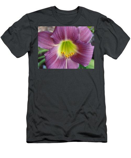 Grape Purple Daylilies  Men's T-Shirt (Slim Fit) by Rebecca Overton