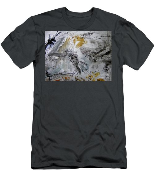 Men's T-Shirt (Slim Fit) featuring the painting Gray And Gold by Nancy Kane Chapman
