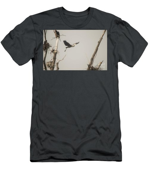 Men's T-Shirt (Slim Fit) featuring the photograph Great Blue Heron - 6 by David Bearden