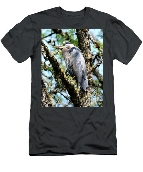 Great Blue Heron In A Tree Men's T-Shirt (Athletic Fit)