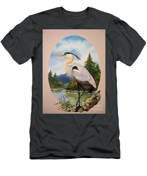 Men's T-Shirt (Slim Fit) featuring the painting Great Blue Heron by Sigrid Tune