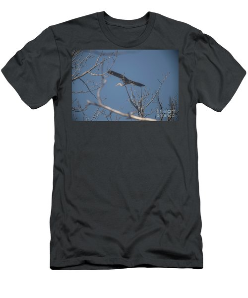 Men's T-Shirt (Slim Fit) featuring the photograph Great Blue In Flight by David Bearden
