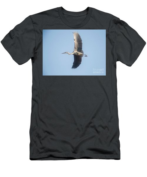 Men's T-Shirt (Slim Fit) featuring the photograph Great Blue On Final by David Bearden