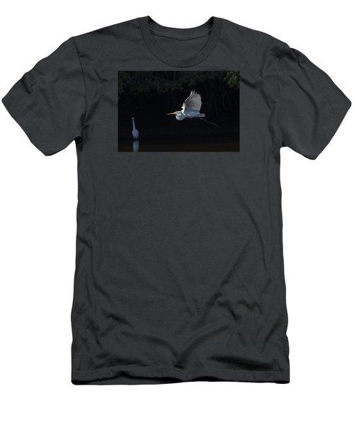 Great Egret In Morning Flight Men's T-Shirt (Athletic Fit)