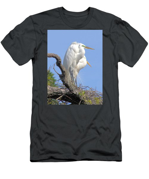 Great Egret Men's T-Shirt (Slim Fit) by Marion Johnson
