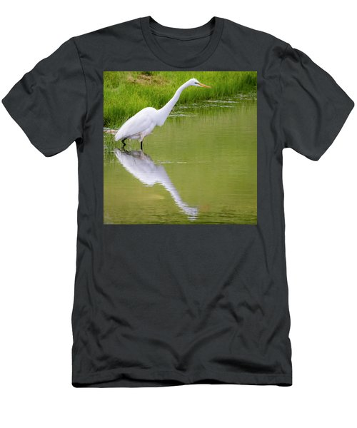 Men's T-Shirt (Athletic Fit) featuring the photograph Great Egret Ready To Pounce by Ricky L Jones