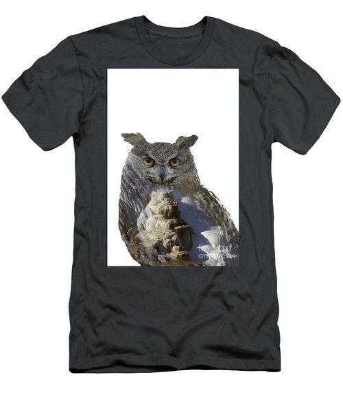 Great Horned Owl And Mammoth Hot Springs Men's T-Shirt (Athletic Fit)