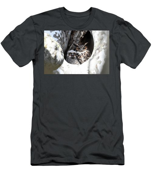 Great Horned Owl Nest Men's T-Shirt (Slim Fit) by Gary Wightman