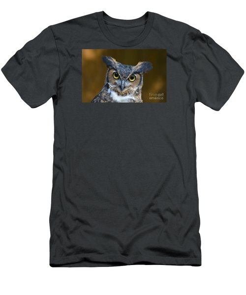 Great Horned Owl Portrait Men's T-Shirt (Slim Fit) by Kathy Baccari