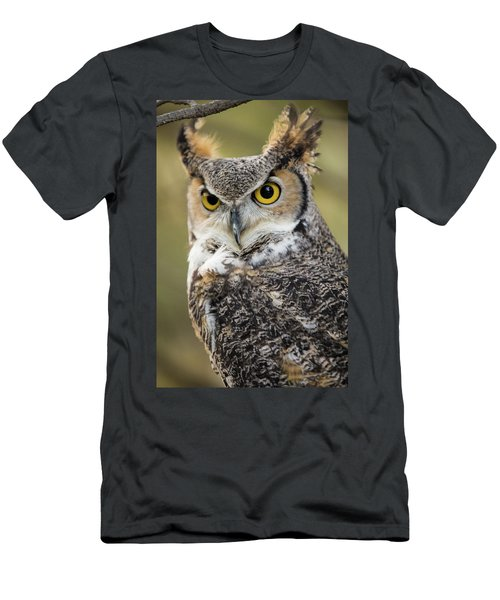 Men's T-Shirt (Athletic Fit) featuring the photograph Great Horned Owl by Wesley Aston