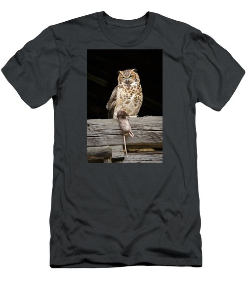 Men's T-Shirt (Slim Fit) featuring the photograph Great Horned Owl With Dinner by Tyson and Kathy Smith