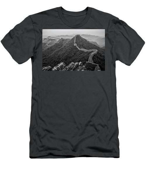 Men's T-Shirt (Slim Fit) featuring the photograph Great Wall 2, Jinshanling, 2016 by Hitendra SINKAR
