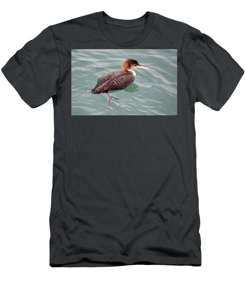 Men's T-Shirt (Athletic Fit) featuring the photograph Grebe In The Water by AJ Schibig