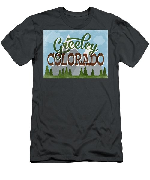 Greeley Colorado Snowy Mountains Men's T-Shirt (Athletic Fit)