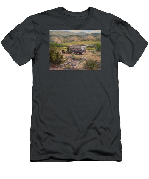 Green And Silver Truck Men's T-Shirt (Slim Fit) by Jane Thorpe