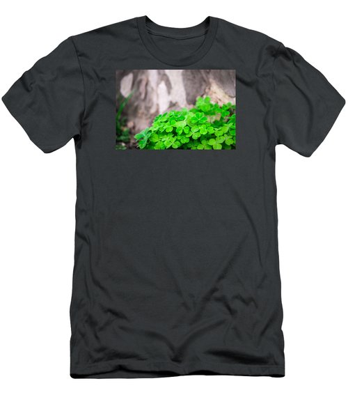 Men's T-Shirt (Slim Fit) featuring the photograph Green Clover And Grey Tree by John Williams