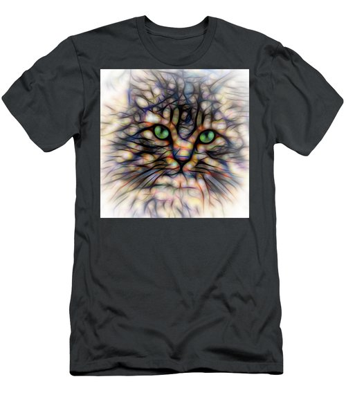 Men's T-Shirt (Slim Fit) featuring the digital art Green Eye Kitty Square by Terry DeLuco