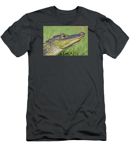 Green Grin  Men's T-Shirt (Slim Fit) by Kathy Gibbons