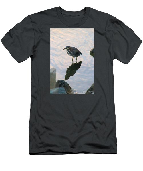 Men's T-Shirt (Slim Fit) featuring the photograph Green Heron In Pink Waters by Robert Banach