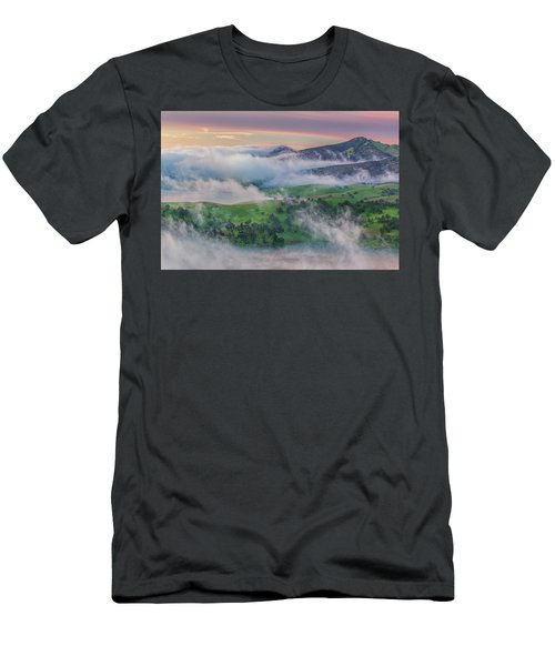 Green Hills And Fog At Sunrise Men's T-Shirt (Athletic Fit)