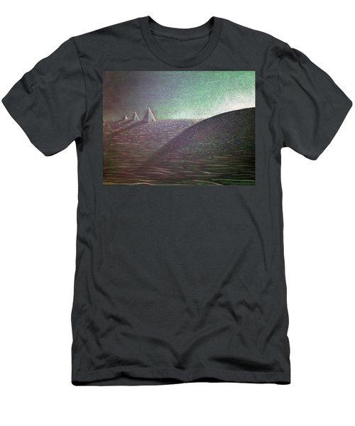 Men's T-Shirt (Slim Fit) featuring the drawing Green Pyramid B by Mayhem Mediums