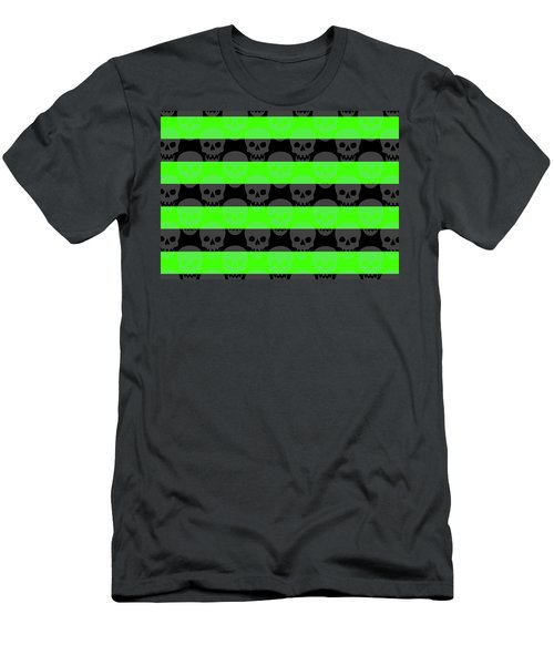 Green Skull Stripes Men's T-Shirt (Athletic Fit)