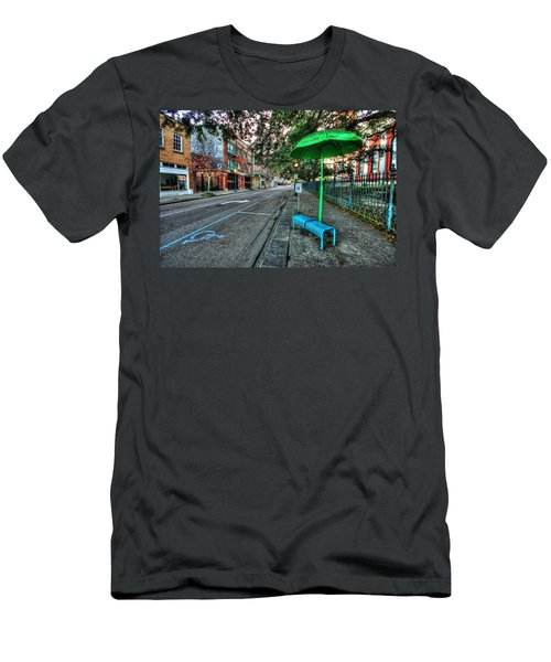 Green Umbrella Bus Stop Men's T-Shirt (Athletic Fit)