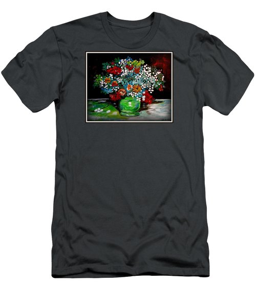 Green Vase With Flowers Men's T-Shirt (Athletic Fit)