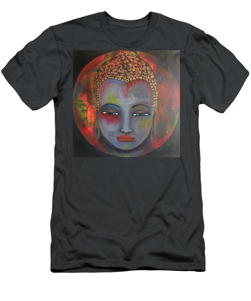 Men's T-Shirt (Slim Fit) featuring the painting Grey Buddha In A Circular Background by Prerna Poojara