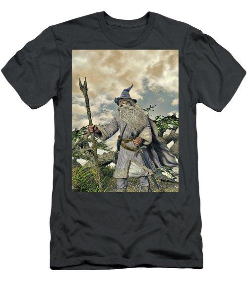 Grey Wizard II Men's T-Shirt (Slim Fit) by Dave Luebbert
