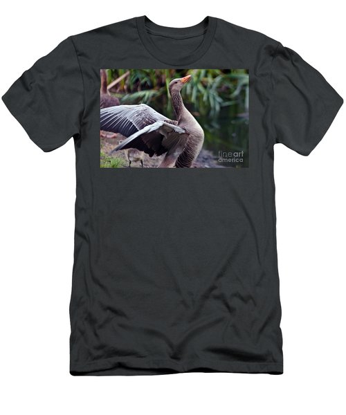 Men's T-Shirt (Athletic Fit) featuring the photograph Greylag Goose Poetry by Silva Wischeropp