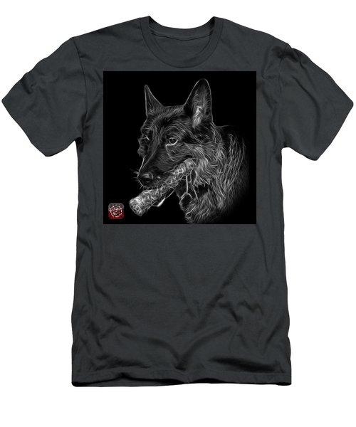 Men's T-Shirt (Slim Fit) featuring the digital art Greyscale German Shepherd And Toy - 0745 F by James Ahn