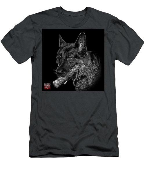 Greyscale German Shepherd And Toy - 0745 F Men's T-Shirt (Slim Fit) by James Ahn