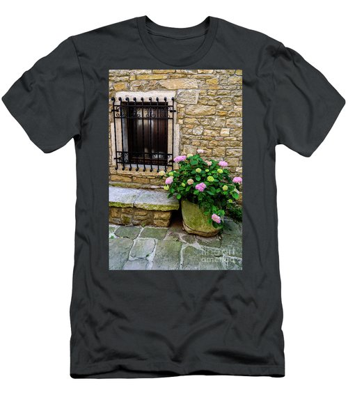 Groznjan Istrian Hill Town Stonework And Flowerpot - Istria, Croatia Men's T-Shirt (Athletic Fit)
