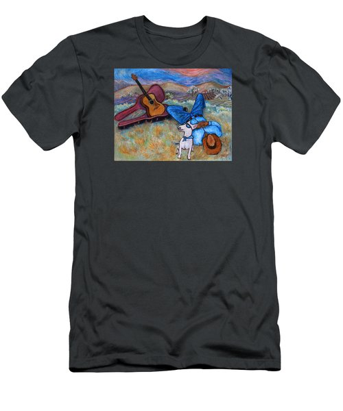 Men's T-Shirt (Athletic Fit) featuring the painting Guitar Doggy And Me In Wine Country by Xueling Zou