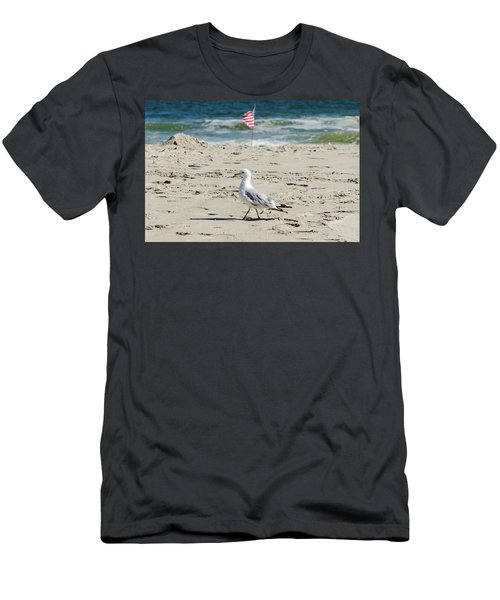 Gull And Flag Rockaway Beach Men's T-Shirt (Slim Fit) by Maureen E Ritter