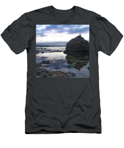 Men's T-Shirt (Athletic Fit) featuring the photograph Gulls With Clouds by Lora Lee Chapman
