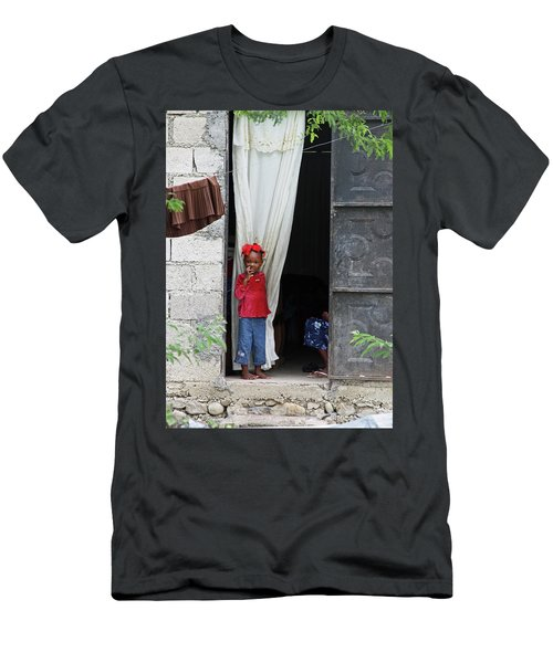Haitian Girl In Red And Blue Men's T-Shirt (Athletic Fit)