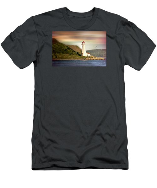 Halifax Harbor Lighthouse Men's T-Shirt (Slim Fit) by Diana Angstadt