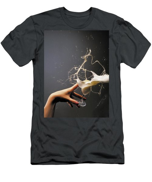 Hand With The Flying Glass Of Liqueur Men's T-Shirt (Slim Fit) by Evgeniy Lankin